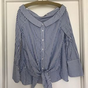 Striped off the shoulder button down top